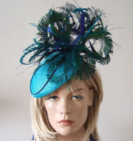 "Turquoise Blue Green Peacock Ostrich and Pheasant Feathered Beret Headpiece Hat  ""Marissa"""